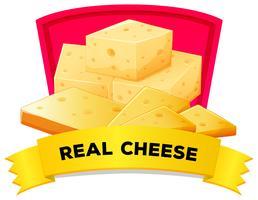 Design de rótulo com queijo real vetor