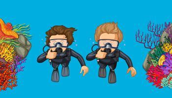 Duas pessoas, mergulhar mergulhar, sob, a, mar vetor