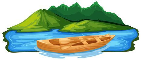 Barco a remo de madeira na natureza vetor