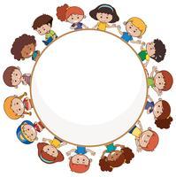 Crianças internacionais com modelo em branco vetor