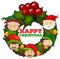 Design de cartão de Natal com visco vetor