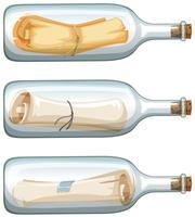 Três garrafas de vidro com mensagem vetor