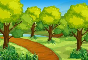 Parque com árvores verdes e pista de caminhada vetor