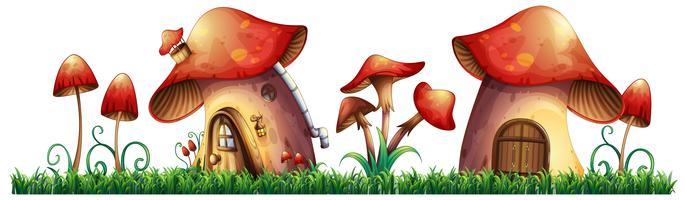 Casas de cogumelo no jardim vetor