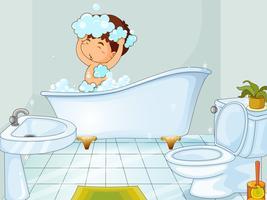 Menino, levando, banho, em, banheiro vetor