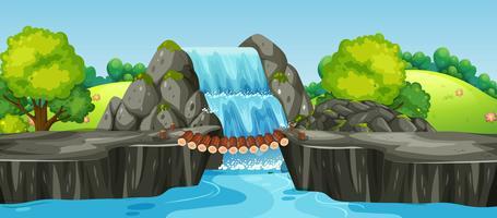 Uma paisagem de natureza cachoeira vetor