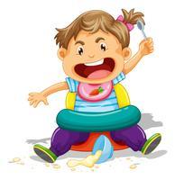 Criança comendo e fazendo bagunça vetor