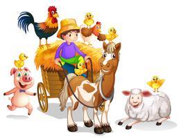 Agricultor e muitos animais de fazenda vetor