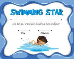 Modelo de certificação de estrelas nadadoras com nadador vetor