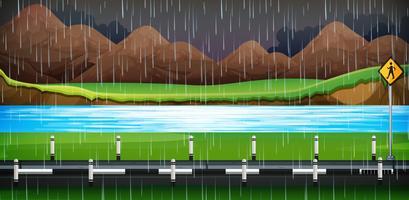 Chovendo no lado da estrada da noite
