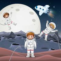 Três astronautas explorando o espaço vetor
