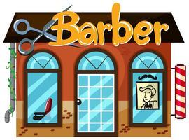 Exterior, de, barbeiro, loja vetor
