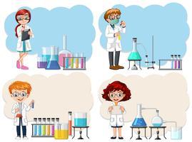 Um jovem cientista no modelo de laboratório vetor