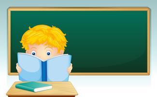 Menino, leitura, livro, em, sala aula vetor