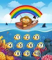 Macaco na pesca de barco vetor
