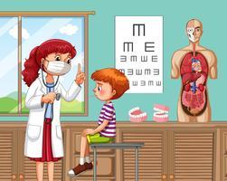 Um menino doente no hospital