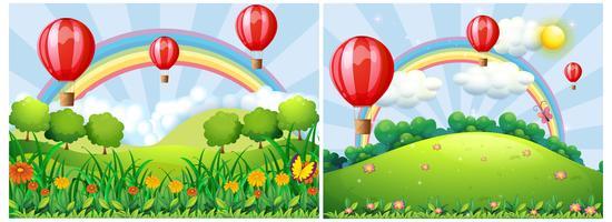 Balão de ar quente sobre as colinas vetor