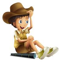 Um menino do safari com binocular no fundo branco vetor