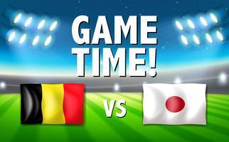 Tempo de jogo Bélgica vs Japão vetor