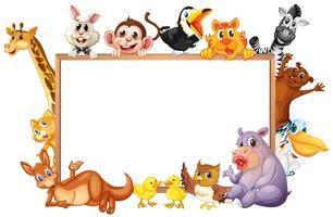 Modelo de fronteira com animais selvagens com cara feliz vetor