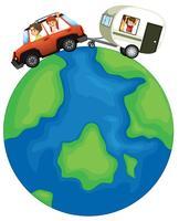 Família viaja ao redor do globo vetor