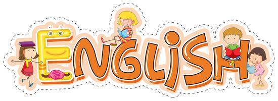 Design de palavras para o assunto da escola inglês vetor