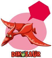 Design de etiqueta com dinossauro pterasaur voando