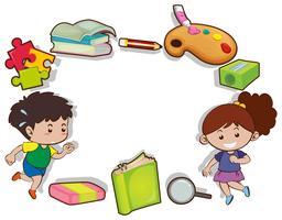 Design de borda com crianças e artigos de papelaria vetor