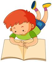 Livro de leitura feliz do menino vetor