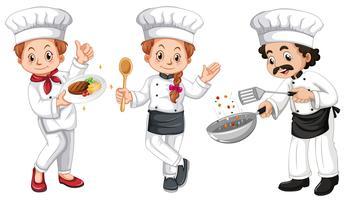 Três personagens de chefs vetor
