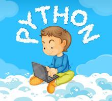 Menino jovem, ligado, laptop, python, conceito vetor