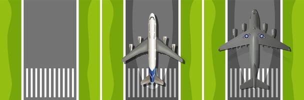 Avião decolando pista vetor