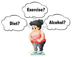 Uma garota gorda, verificando o peso
