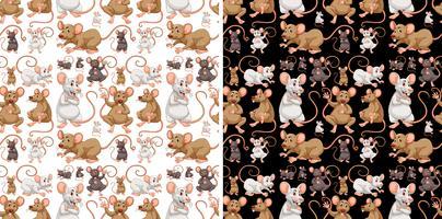 Design de plano de fundo sem emenda com ratos vetor