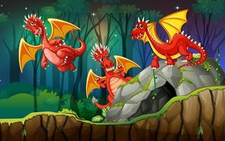 Dragão em terra mágica vetor