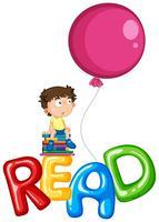 Menino e balões para a palavra ler vetor