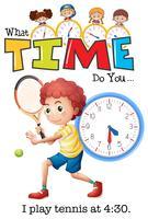 Um menino jogar tênis às 4:30 vetor
