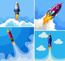 Foguetes voando no céu azul vetor