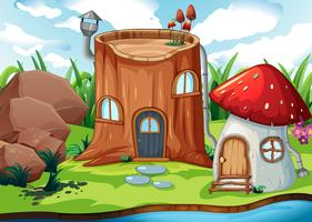Casa de tronco de árvore encantada vetor