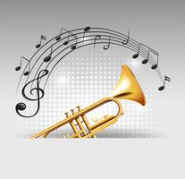 Trompete de ouro com notas musicais no fundo vetor
