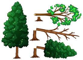 Um conjunto de árvores sendo cortadas vetor