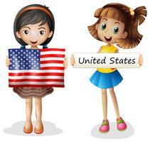 Duas meninas, com, bandeira estados unidos