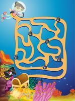 Jogo de quebra-cabeça labirinto subterrâneo vetor