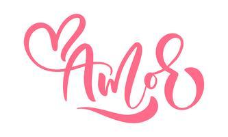 """""""Amor"""" Palavra de caligrafia (""""Amor"""" em espanhol e português) vetor"""