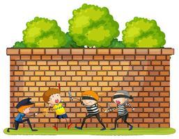 Cena de roubo com vítima e criminosos vetor