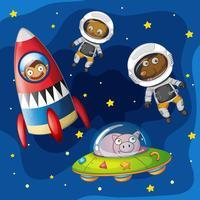 Animais explorando o espaço