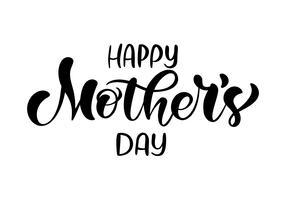 Feliz dia das mães letras de caligrafia de texto vetor