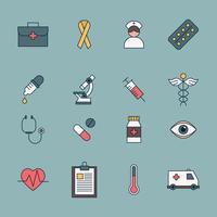 Delineado ícones de cuidados de saúde vetor