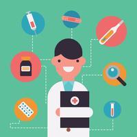 Doutor colorido e material de saúde vetor