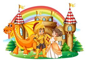 Cavaleiro e princesa no palácio vetor